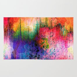 Neon Stained Glass Explosion Rug