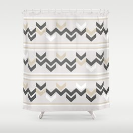 Geometric Arrowhead Charcoal Gold And White Grunge Pattern Shower Curtain