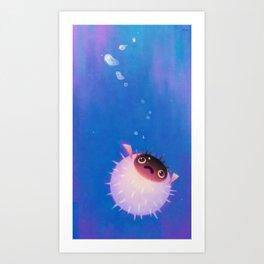 Drifting puffer Art Print