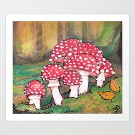 Mushrooms in the Woods Art Print