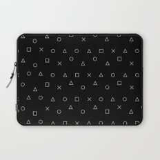 black gaming pattern - gamer design - playstation controller symbols Laptop Sleeve