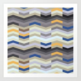 Modern Chevron - Peek O' Blue Art Print