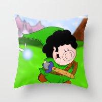 zelda Throw Pillows featuring Zelda! by Afro Pig