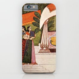 Indian Masterpiece: Krishna and Radha in a pavilion portrait painting iPhone Case