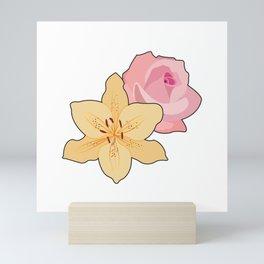 Pink Rose & Day Lily Mini Art Print