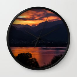 Locarno and Ascona at sunset Wall Clock