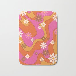 Groovy 60's and 70's Flower Power Pattern Bath Mat