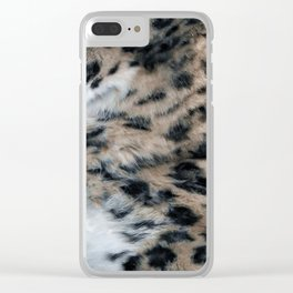 Snow Leopard Fur Abstract Clear iPhone Case