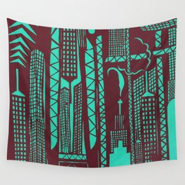 Metropolis [Red / Aqua] Wall Tapestry