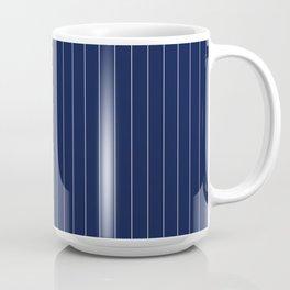 Navy Blue Pinstripes Line Coffee Mug
