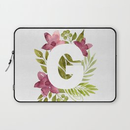 Monogram G with red waercolor flowers and green leaves. Floral letter G. Botanical illustration. Laptop Sleeve