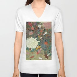 flower【Japanese painting】 Unisex V-Neck