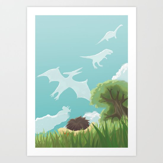 Dinosaur Clouds Art Print