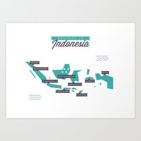 indonesia Art Prints featuring Indonesia Map by Lukas Koudelka