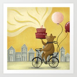 Bear on a Bike Illustration Art Print
