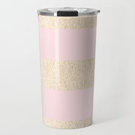 Stripes White Gold Sands on Pink Flamingo Travel Mug