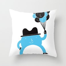 Blue-Boy Balloon Throw Pillow