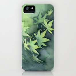 Japanese Maple Watercolor Green Leaves iPhone Case