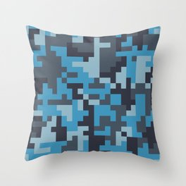 Blue and Grey Pixel Camo pattern Throw Pillow