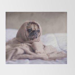 Snug pug in a rug Throw Blanket