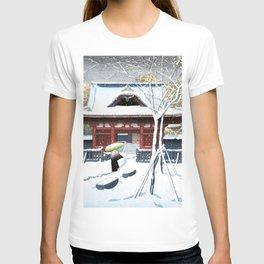 Snow At Shiba Park, Tokyo by hasui Kawase - Vintage Japanese Woodblock Print Art T-shirt