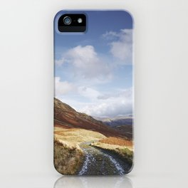 Track on the Honister Pass. Cumbria, UK. iPhone Case