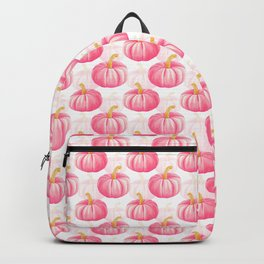 Hello, Pumpkin | Cute and Fun Watercolor Illustration and Pattern in Rose Pink and Gold Colors Backpack