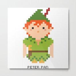 Peter Pan Pixel Character Metal Print