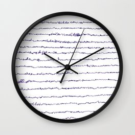Ocean asemic calligraphy for unique home decoration Wall Clock