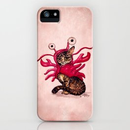 """""""The Lobster"""" by Amber Marine ~ Tabby Cat in Lobster Costume, Watercolor and Ink, (c) 2015 iPhone Case"""