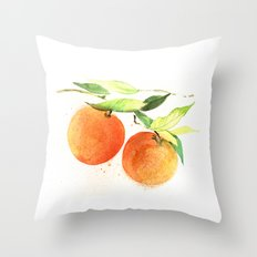 Watercolor oranges Throw Pillow