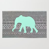 mint Area & Throw Rugs featuring Mint Elephant  by Sunkissed Laughter