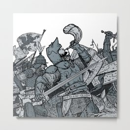 Saturday Knight Special STEEL BLUE / Vintage illustration redrawn and repurposed Metal Print