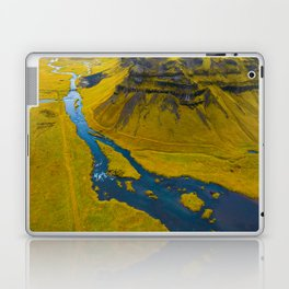 Scandinavian Grassland Landscape Dark Navy Rivers Aerial View photo Laptop & iPad Skin