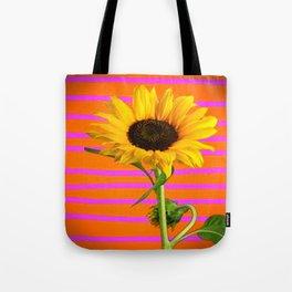 YELLOW SUNFLOWER MODERN  PURPLE ART Tote Bag