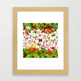 Holiday festive red green holly Christmas pattern Framed Art Print