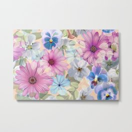 Pink and blue floral pattern Metal Print
