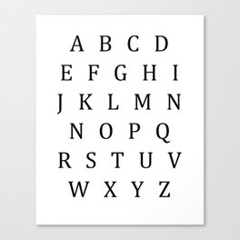 Classic Alphabet Uppercase Sign Canvas Print