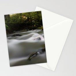 Green forest with river at sunset Stationery Cards