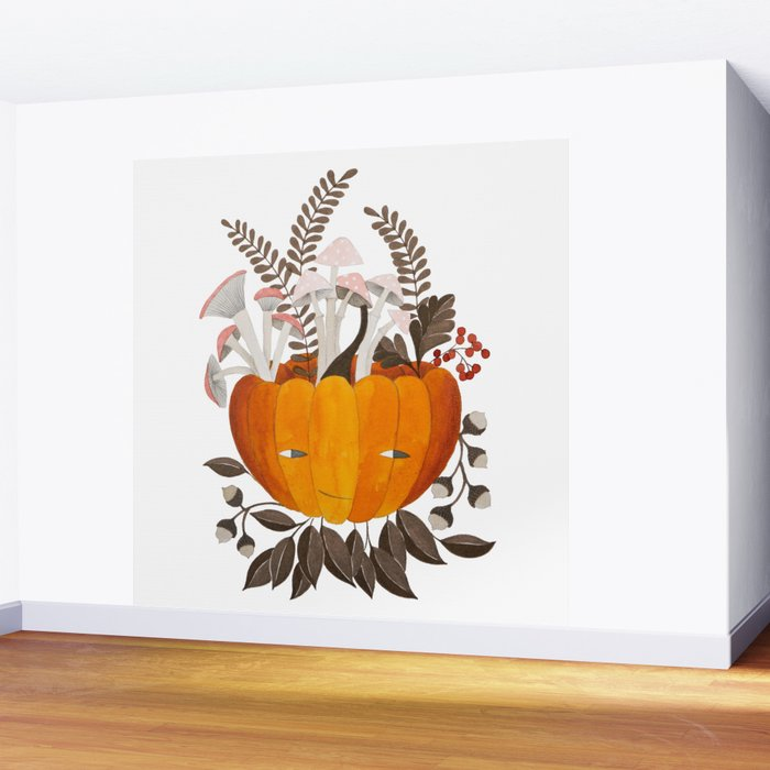 Autumn pumpkin with pink mushrooms watercolor illustration Wall Mural