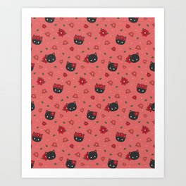 black cat noche buena flowers Art Print