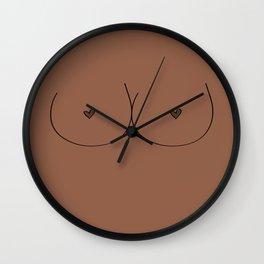 Boobs - Medium Brown Wall Clock