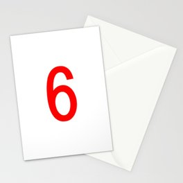 NUMBER 6 (RED-WHITE) Stationery Cards
