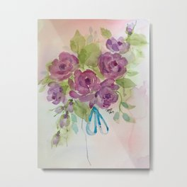 Lavender Roses with blue ribbon Metal Print