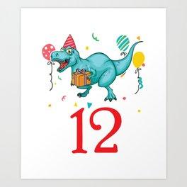 12th Birthday For Boys Dinosaur Birthday Art Print