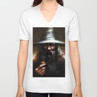 gandalf V-neck T-shirts featuring Gandalf the Grey by Fabio Leone