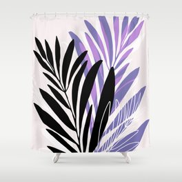 Lavender Olive Branches / Contemporary House Plant Drawing Shower Curtain