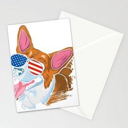 Corgi american flag sunglasses shirt Labor Day tee Stationery Cards