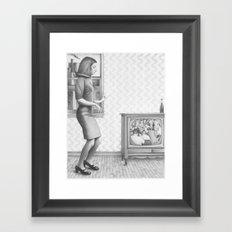Girl with TV Framed Art Print
