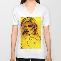 one line V-neck T-shirts featuring One Line by MRSCM Illustration